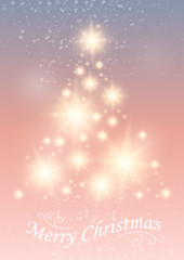 Christmas and New Years background with Christmas Tree made of cut out paper stars. Vector EPS10