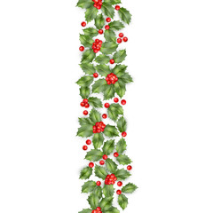 Seamless border from Christmas holly berry. EPS 10 vector