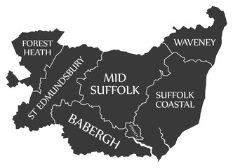 Suffolk county England UK black map with white labels illustration