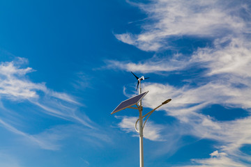 Street lighting works from solar panels and wind generators
