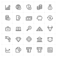 Icon set - money and finance outline stroke vector illustration