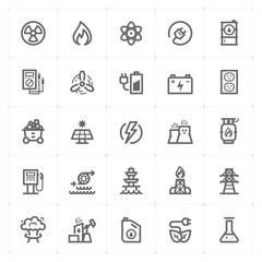 Icon set - energy and power outline stroke vector illustration
