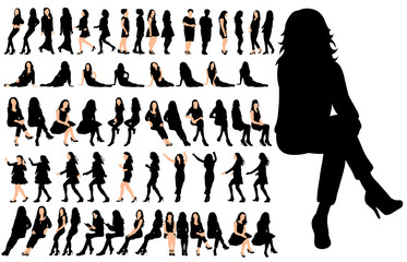 Vector, isolated, set of sitting people, a collection of silhouettes