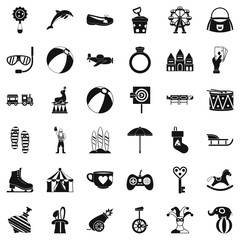 Children icons set, simple style