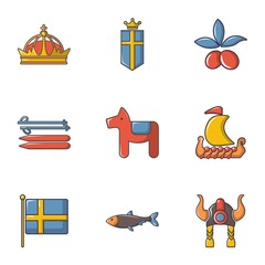 Scandinavian items icons set, cartoon style