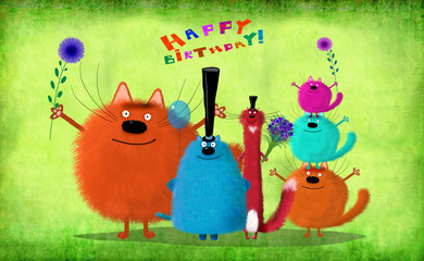 Birthday Card Big Company Of Cats With Flowers And Balloon