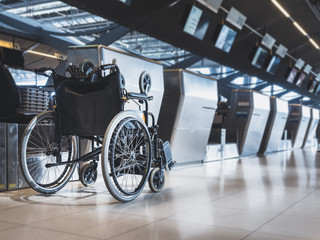 Wheelchair prepare for disability passenger at Airport Airline Check in counter