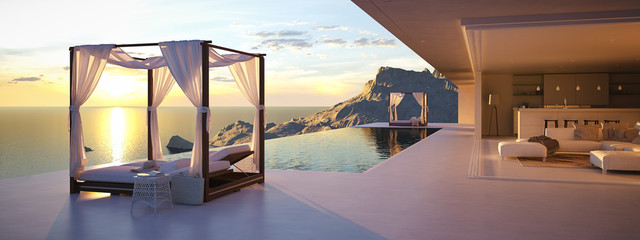 beautiful sunset at the infinity pool. 3d rendering Wall mural
