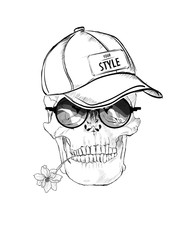 Illustration of a skull in a baseball cap, glasses, with a flower in the teeth. Isolated over white background