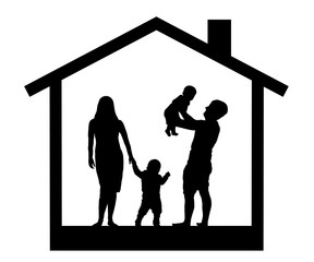 Family with children in the house, silhouette vector