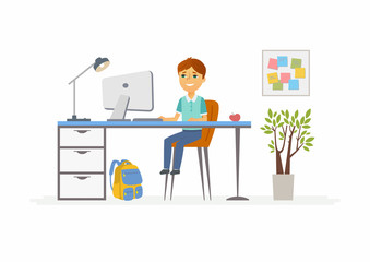 Online education - illustration of school boy student at home computer