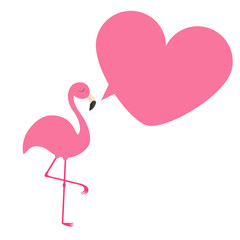 Flamingo. Exotic tropical bird. Zoo animal collection. Pink heart frame talking bubble. Cute cartoon character. Decoration element. Flat design. White background. Isolated.