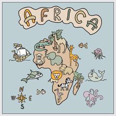 Africa continent kids cartoon map