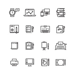 Creative, science, writing tools line icons set