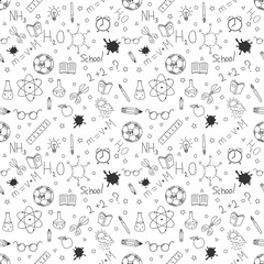 Back to school seamless pattern. Back to school doodles. Hand drawn objects. Vector illustration.