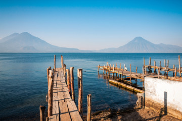 Lake Atitlan and Volcano views from the old pier in Panajachel, Guatemala