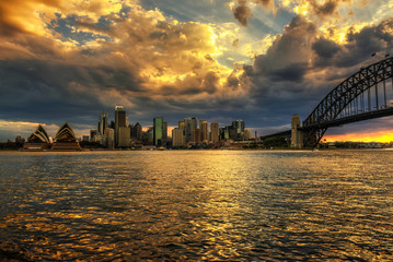 Wall Mural - Dramatic sunset sky above Sydney