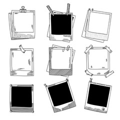 Hand drawn photo frames. Vintage vector illustration set