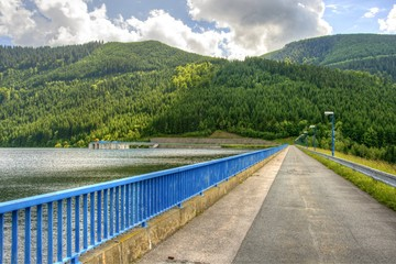 Road over dam of hydroelectric power station