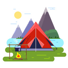 Summer camping vector background illustrations. Forest, tent and fire