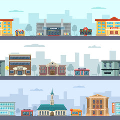 Horizontal seamless pattern of urban landscapes with municipal buildings and different commercial shops and market places