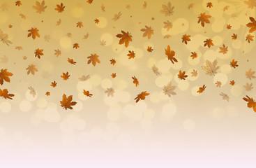 красивая иллюстрация из падающих желтых осенних листьев на светлом фоне