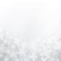 Winter white background christmas made of snowflakes and snow with blank copy space for your text, Vector