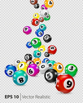 Vector Colorful Bingo balls fall randomly. Lottery Number Balls Isolated. Colored balls isolated. Bingo ball. Bingo balls with numbers. Realistic vector. Vector isolated illustration.