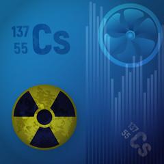 Symbol of radioactive hazard. A cesium atom 147. Design of nuclear contamination.