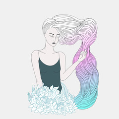 A girl with long wavy dyed hair, young woman with white, pink, blue hair coloring, and flowers. Vector illustration, beauty theme.