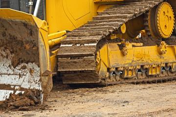 Yellow crawler bulldozer