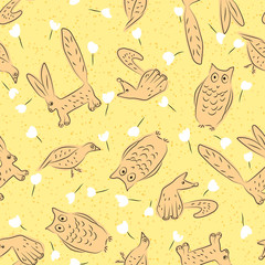 Surface design with animals and flowers. Seamless vector pattern