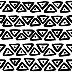 Hand painted black ink fish head triangles. Seamless vector pattern