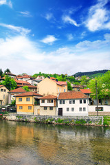 View of the architecture and embankment of the Milyacki River in the historical center of Sarajevo, Bosnia and Herzegovina