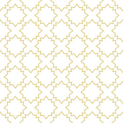 Oriental style background with stars in gold. Seamless vector pattern