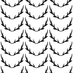 Stylish black and white design with symmetrical twigs. Seamless vector pattern