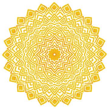 Sunny yellow mandala, vector illustration