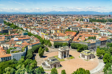 Cityscape of Milan - aerial view from the Branca Tower (Torre Branca) of the Sempione square (Piazza Sempione), with the Arch of Peace (Arco della Pace), Milan Italy