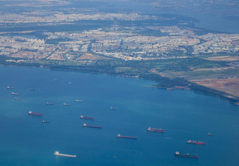 Cargo boats on the sea in Singapore