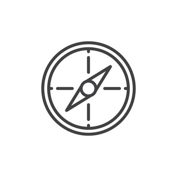 Compass line icon, outline vector sign, linear style pictogram isolated on white. Navigation symbol, logo illustration. Editable stroke. Pixel perfect vector graphics