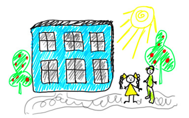 Illustration of the kids go in school, back to school style naive