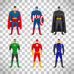 Superhero costumes set on transparent background