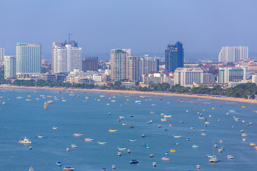 Panorama view of Pattaya city in Thailand. Day time
