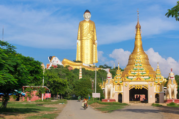 Monywa, Myanmar - October 8, 2016: Laykyun Sekkya in Monywa, Myanmar. Bodhi Tataung Standing Buddha is the second tallest statue in the world.