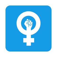 Icono plano feminista en cuadrado azul