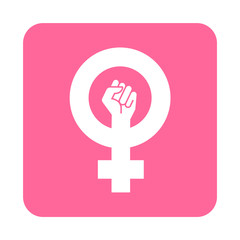Icono plano feminista en cuadrado rosa