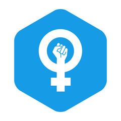 Icono plano feminista en hexagono azul