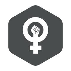 Icono plano feminista en hexagono gris