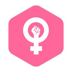 Icono plano feminista en hexagono rosa