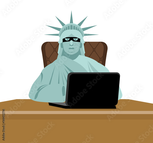 American hacker  computer thief from USA  Statue of Liberty